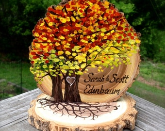 Fall Leaves Wedding Cake Topper Live Edge Wood Slice Autumn Colors Two Trees