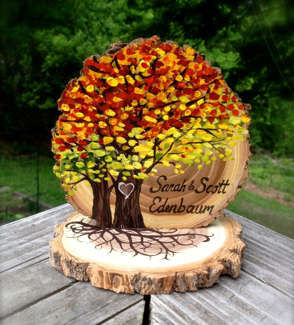 Fall Leaves Wedding Cake Topper Live Edge Wood Slice Autumn