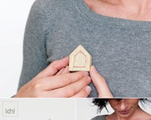 Wooden hut. Wood Brooch of Embroidery  House. Housewarming gift. Eco-friendly. Choose your color.