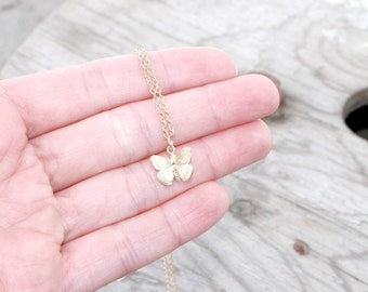 Tiny Butterfly Necklace, Butterfly Golden Necklace, Small Textured Butterfly, Gift for Girls, Grand Daughter Necklace