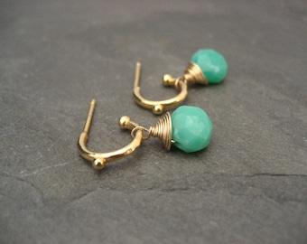 Chrysophrase earrings, faceted chrysophrase, dangle earrings, small hoops, chrysophrase briolettes