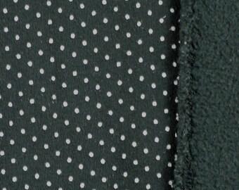 Fleece Print Fabric, Very Little Stretch, White Polka Dots on Black, Medium Weight Cotton, half yard, 10-oz, B21