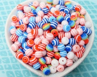 100x 6mm Tiny Resin Multi color stripe Globe beads ..