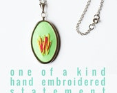 Modern Hand Embroidery Spring Jewelry. Easter Necklace. Mint Green Necklace. Citrus Colors. Embroidered Pendant necklace. Statement Jewelry