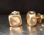 Square Stud Earrings - Post Earrings - Caramel Candy - Gold Filled Post Earrings - Handmade Earrings - Minimalist Jewelry - VenexiaJewelry