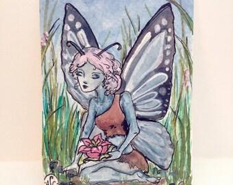 Blue Fairy ACEO art card by Amanda Christine Shelton