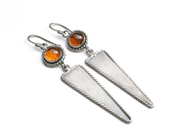 Ancient Artifact Inspired Earrings with Baltic Amber- Gemstone Earrings in Sterling Silver- Handcrafted Amber Earrings