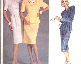 1980s Albert Nipon Vogue American Designer Dress Slim Skirt Top with Collar Peplum Vogue 1862 Uncut FF with Label Sz 16 B 38 Sewing Pattern