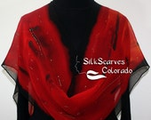 Silk Scarf Red, Black Hand Painted Chiffon Silk Shawl NIGHT PASSION by Silk Scarves Colorado, in 2 SIZES. Elegant Silk Gift Anniversary Gift