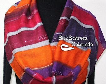 Burgundy, Purple, Orange Hand Painted Silk Wool Shawl Boston Sunrise. Large Warm Scarf 14x68. Silk Scarves Colorado. Birthday, Anniversary