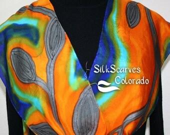 Silk Scarf Blue, Orange Hand Painted Silk Shawl SUNSET GARDEN by Silk Scarves Colorado.  Size 11x60. Elegant Silk Gift. Gift Wrapped