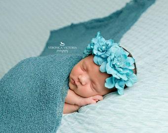 Turquoise flower headband- pearls,infant headband-flower girl- blue headband -newborn headband-,skinny headband, halo headband