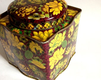 vintage English tea tin warm earthy colored floral all over pattern curved sides