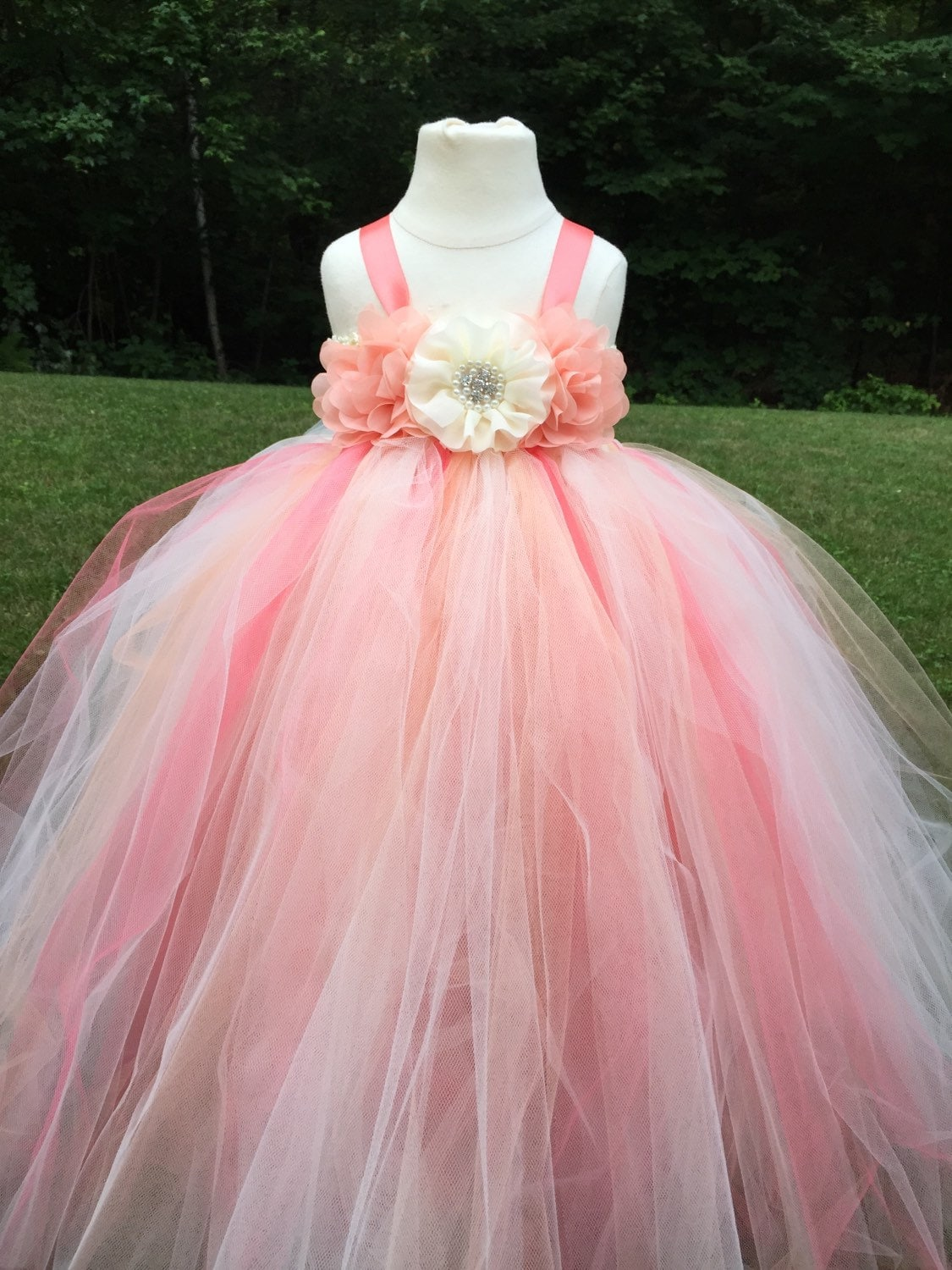 Coral peach and ivory tulle flower girl dress coral and for Flower girls wedding dress
