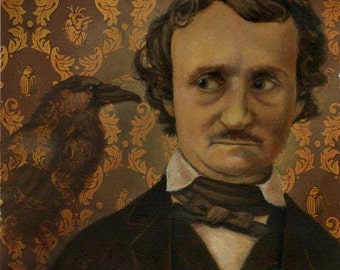 Edgar Allan Poe Print. Poe Portrait Print, The Raven, Victorian Writer, Literary Print, College Dorm Decor,  Literary Art, Teachers Gift