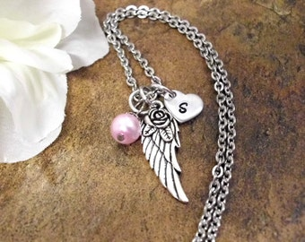 Memorial Jewelry, Personalized Jewelry, Memorial Necklace, Hand Stamped Jewelry, Angel Wing Necklace