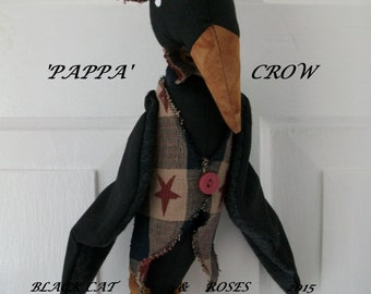 INSTANT DOWNLOAD 'Pappa' Crow Primitive Door Hanger