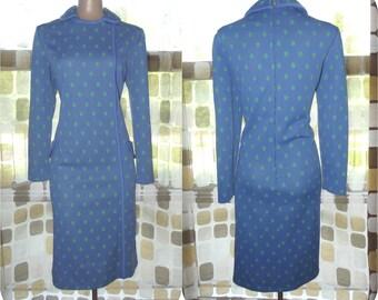 Vintage 60s 70s Dress   1960s Sheath Dress   AMAZINGLY MOD   Collared Op-Art Dress   Periwinkle Blue & Lime Green   Size L XL 1X