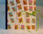 South Africa Flowers Postage Stamp Covered Stitched Writing Journal