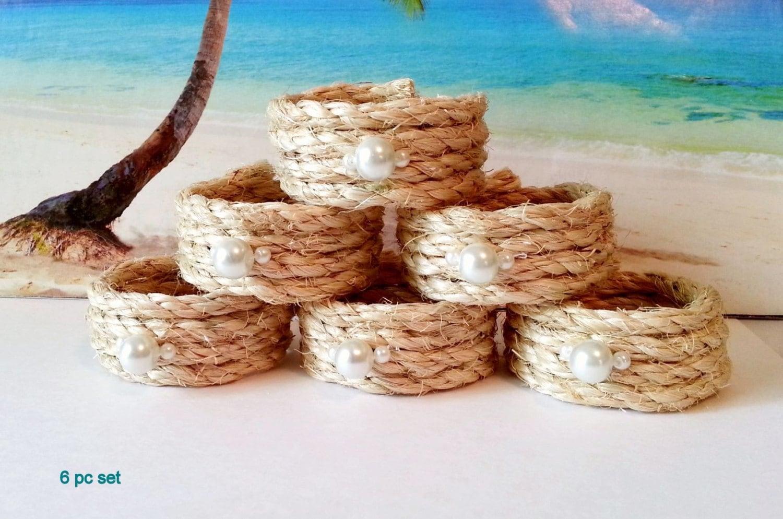 Rope napkin rings nautical beach napkin holders with white - Coastal napkin holder ...