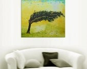 Desert tree - art african ethnic valley relax painting wall decor home field hanging yellow green canvas original landscape impasto oil