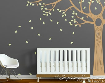 Acorn oak floor to ceiling tree wall decal with leaves, baby nursery decor ideas, kids room interior wall decal set WAL-2131A