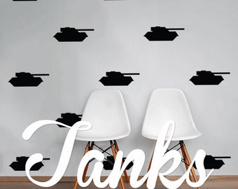 Tank Wall Decal Pack, Vinyl Wall Sticker Decal Art Pattern WAL-2216