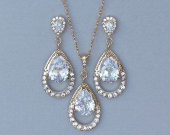 Gold Crystal Jewelry Set, Gold Bridal Set, Bridesmaids Jewelry Set, Clip On Earrings Set, Gold Teardrop Set, Wedding Jewelry, JASMINE