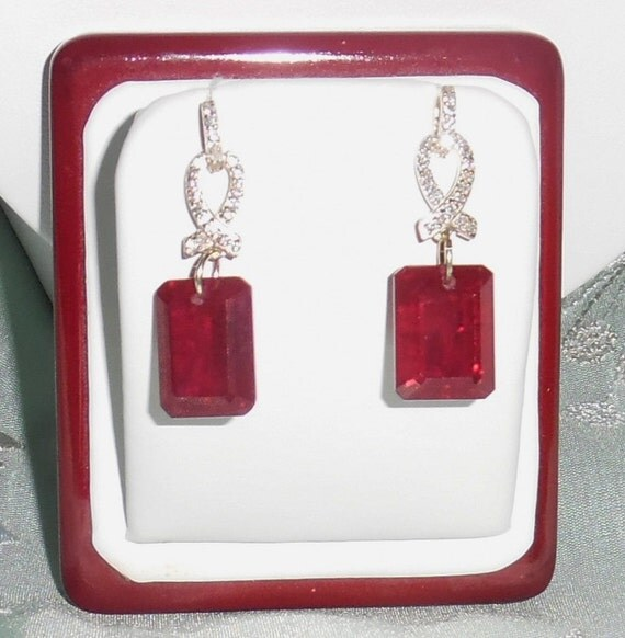 46 cts Natural Octagon Red Sapphires gemstones, Sterling Silver Pierced Earrings