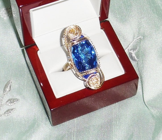 23ct Natural Marquise Swiss Blue Topaz gemstone, 14kt yellow gold Ring Sz 9 1/2