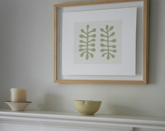 Silkscreen print, Abstract green, modern handmade art, Scandinavian home. Modern wall decor by Emma Lawrenson inspired by Matisse