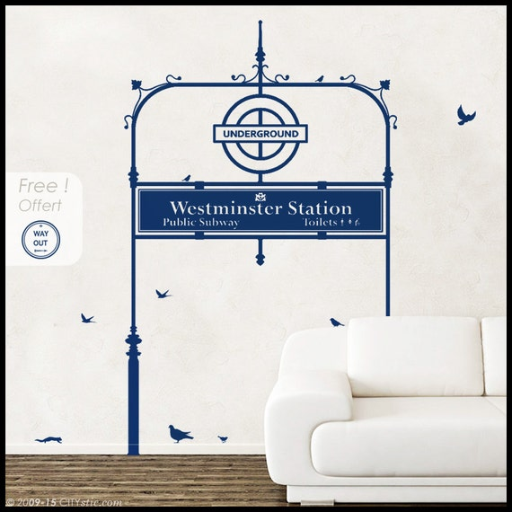 LONDON : WALL DECAL - Underground Tube Entrance On sale. At Westmister Station, Big Ben.