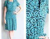 1940s Dress // Heavy Heart Dress // vintage 40s rayon dress