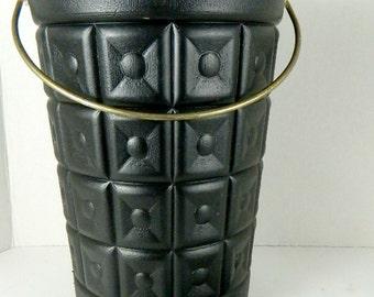 Vintage Lustro Ware Mid-Century Modern Plastic Ice Bucket LustroWare Black