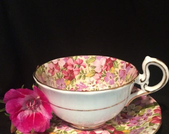 Chintz Tea Cup and Saucer - Royal  Standard  - Virginia Stock - Pink and Purple Flowers  - England - Wedding Table Setting