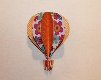 3d Hot Air Balloon -orange polka dots flowers red blue pink