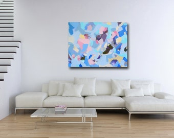 Abstract Canvas Print, Giclee Print, Wall Art, Large Canvas Print, Expressive Artwork, Large Abstract Canvas, Blue, Pink, and White Art