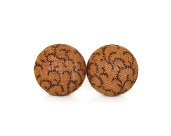 Brown fabric earrings - brown button earrings - gift for her - stud earrings - tiny vintage style earrings