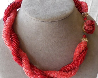 Vintage RED Multi Strand Seed Bead Choker Necklace
