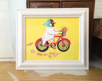 Bicycle Chicken Art Print Beach Decor Bicycle Art Kids Room Beach Baby Nursery Beach House Hen Chicken Decor Mangoseed by Christina Rowe