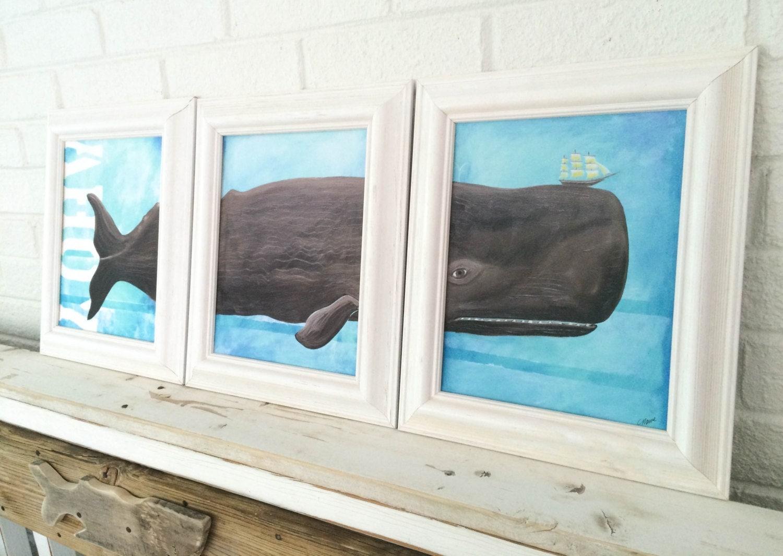 Décor de baleine encadré triptyque baleine art plage par mangoseed