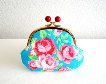 Retro floral coin purse - roses - turquoise blue, frame purse, clasp purse