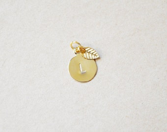 Small Gold Letter Stamped Initial with Leaf - Charm Only