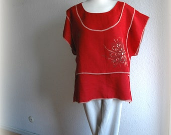 Red  LINEN Tunic Kimono With Hand Painted  Applique Eco Friendly Fancy Linen Clothing Natural Laganlook Tunic Plus Size