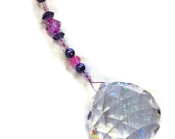 Feng Shui Crystal 40mm Sun Catcher Glass Beads Rainbow Ornament Pink and Purple Beads