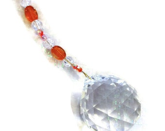 Feng Shui Crystal 40mm Sun Catcher Glass Beads Rainbow Ornament Orange & Clear Crackle Beads