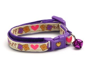 Best Friends Cat Collar - Peanut Butter and Jelly BFF on Cream - Small Cat / Kitten Size or Large Size