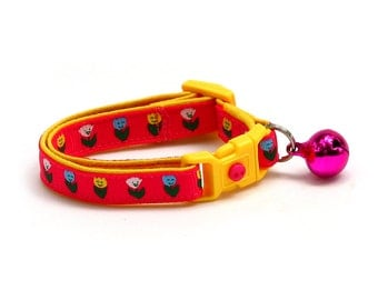 Floral Cat Collar - Happy Tulip Flowers on Bright Pink - Small Cat / Kitten Size or Large Size