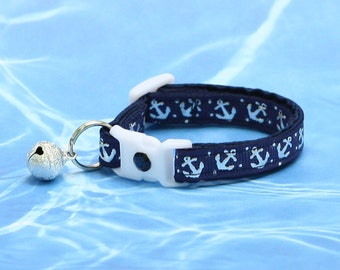 Nautical Cat Collar - Shiny Silver Anchors on Navy  Blue - Kitten or Large Size