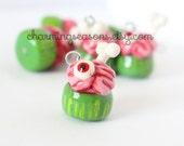 Zombie Cupcake Clay Charm, Halloween Holiday Horror Cake Jewelry